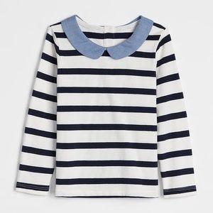 GAP Woven Collar Long Sleeve Striped T-shirt | EUC